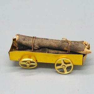 vintage ornament log wagon gold 4×1″ gently used s